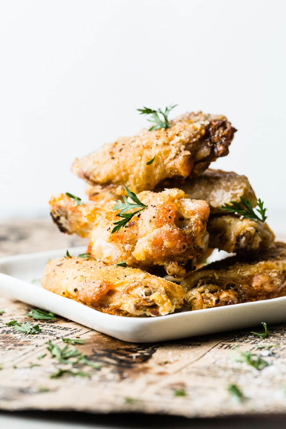 Air Fried Salt and Pepper Chicken Wings stacked