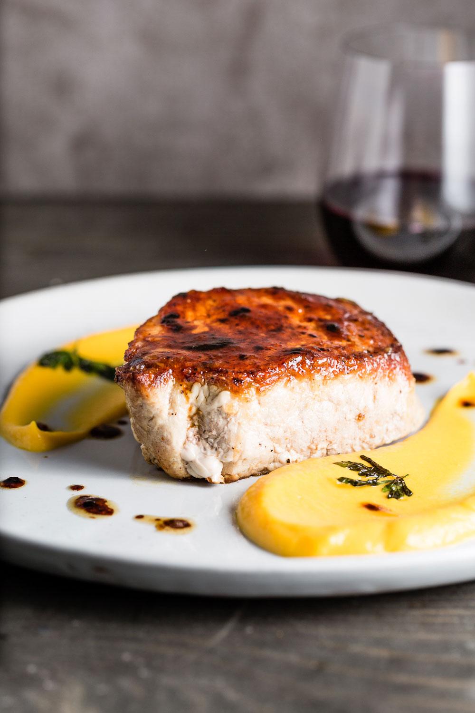 Apple Jam Glazed Pork Chops at table
