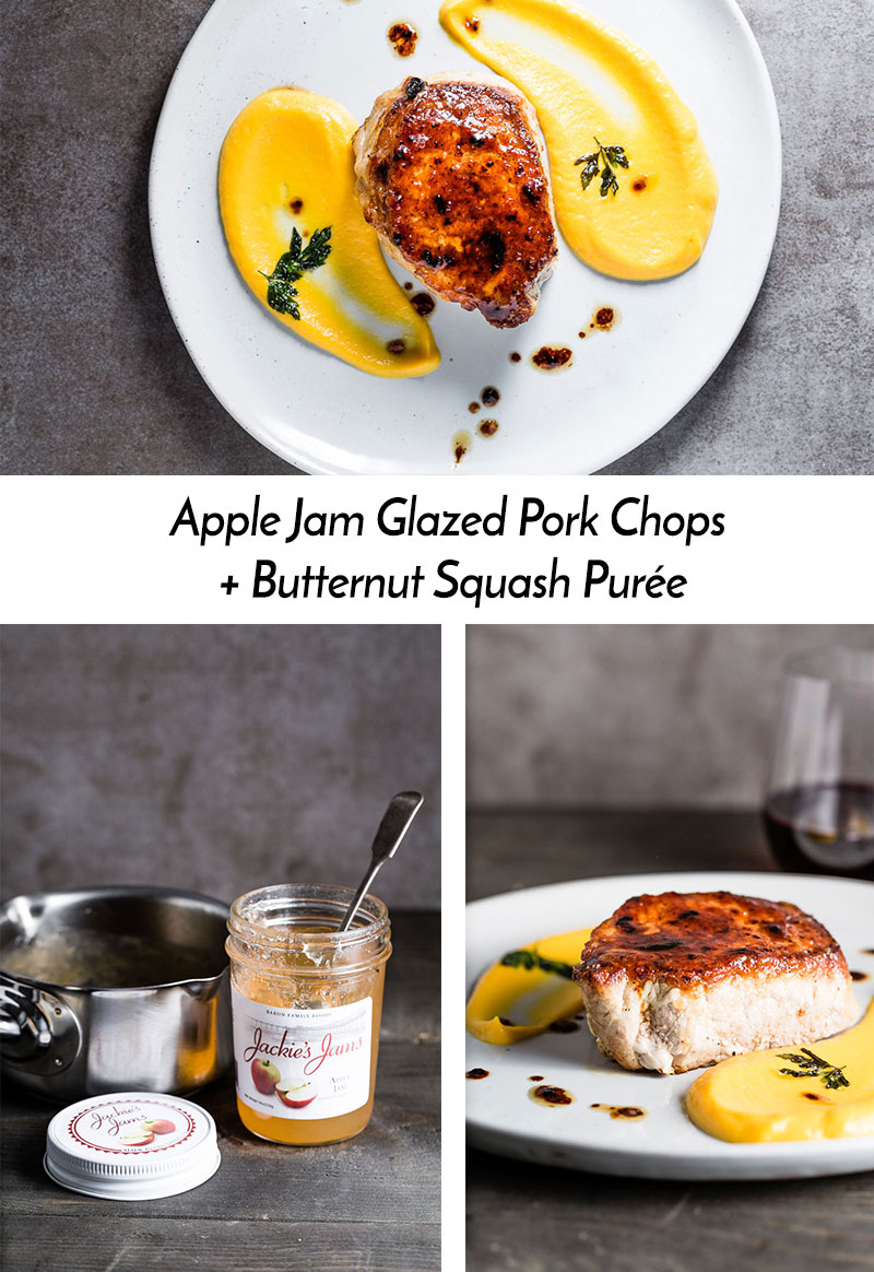 Sweet and slightly tangy Apple Jam Glazed Pork Chops are seared and pan roasted, then accompanied with a silky smooth Butternut Squash Purée