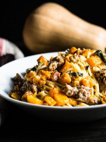 Butternut Squash and Sausage Pasta horizontal