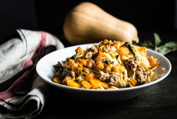 Butternut Squash and Sausage Pasta horizontal