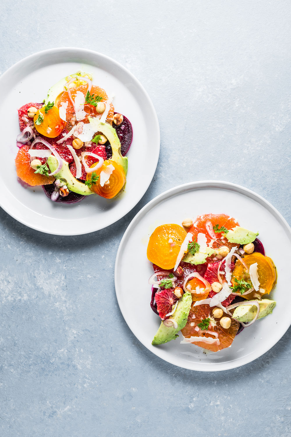 CItrus Beet and Avocado Salad on plates