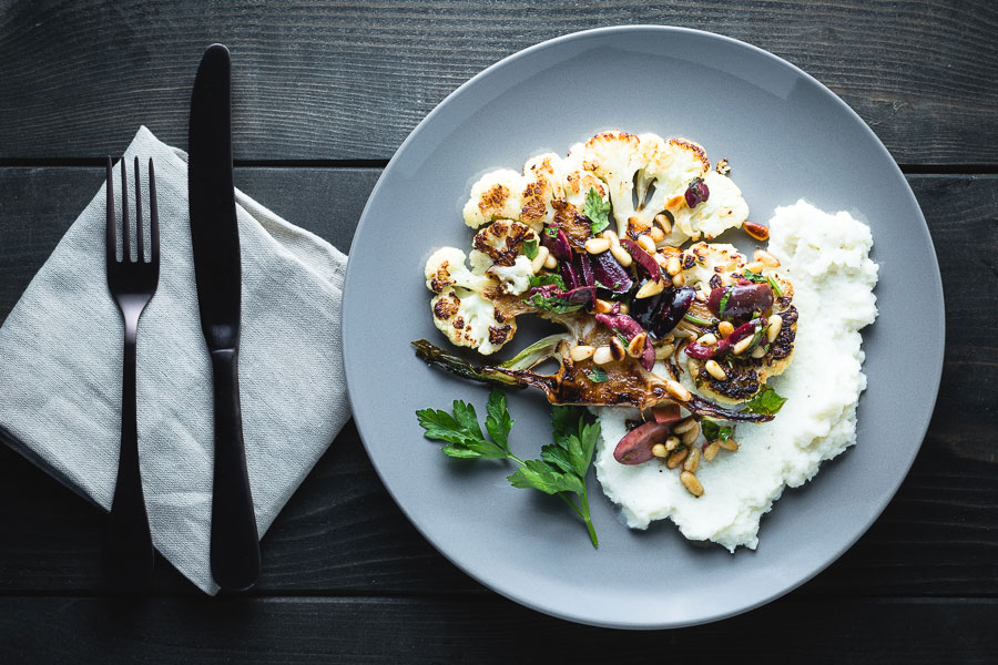 Cauliflower Steaks And Puree Overhead