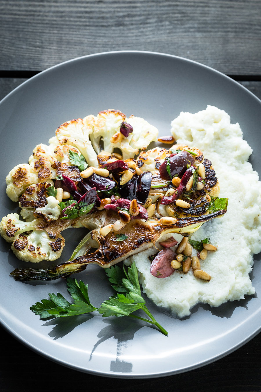 Cauliflower Steaks And Puree Overhead close up