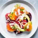 Citrus Beet and Avocado Salad Overhead