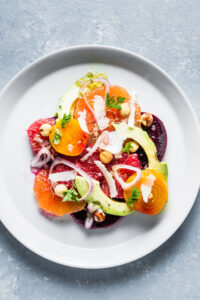 Citrus Beet and Avocado Salad Overhead