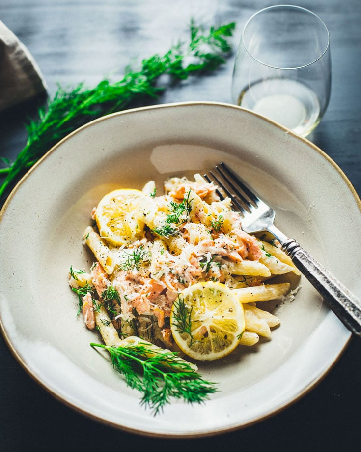 Creamy Lemon Vodka Salmon Pasta in bowl
