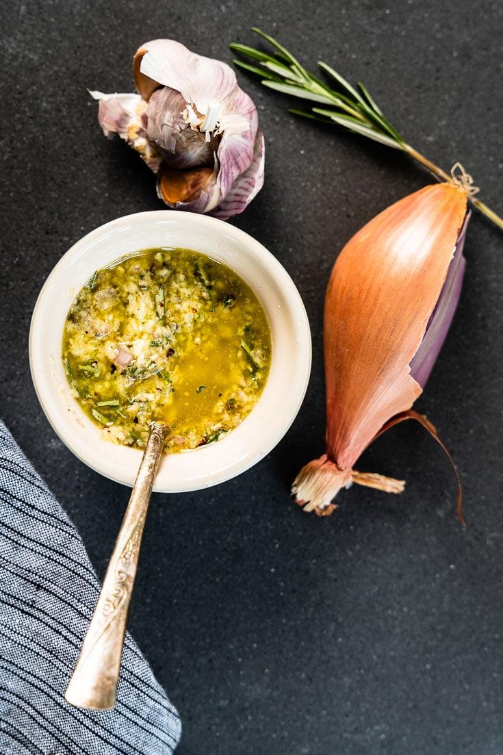 Garlic-Rosemary Steak Marinade in rameken