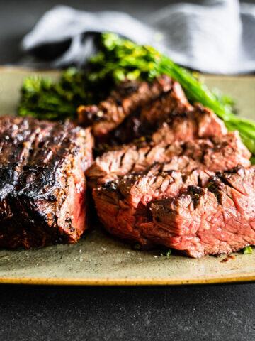Garlic-Rosemary marinated grilled flap steak