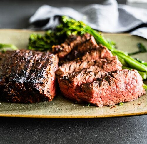 Garlic-Rosemary marinated grilled flap steak