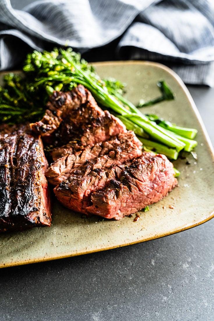 Garlic-Rosemary marinated grilled flank steak vertical 2