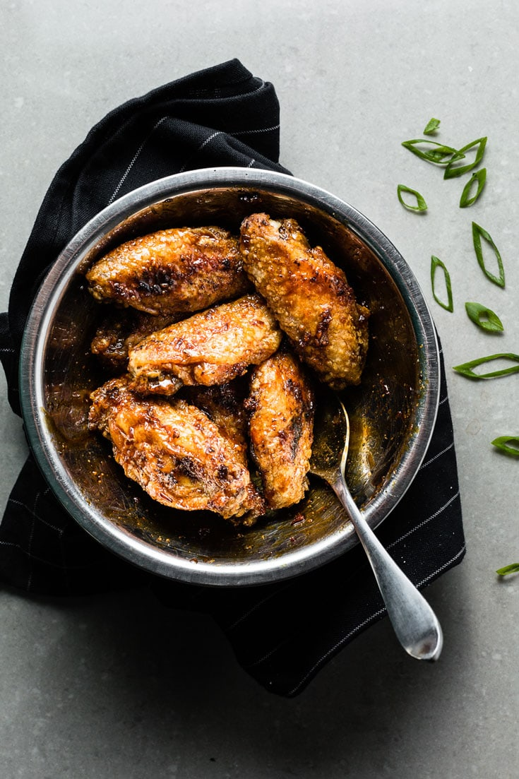 Honey-Garlic Air Fried Chicken Wings in a Bowl