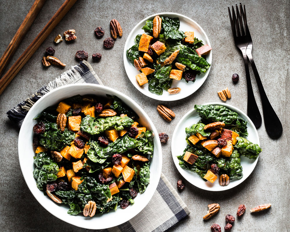 Kale Salad with Roasted Sweet Potatoes and apple cider vinaigrette