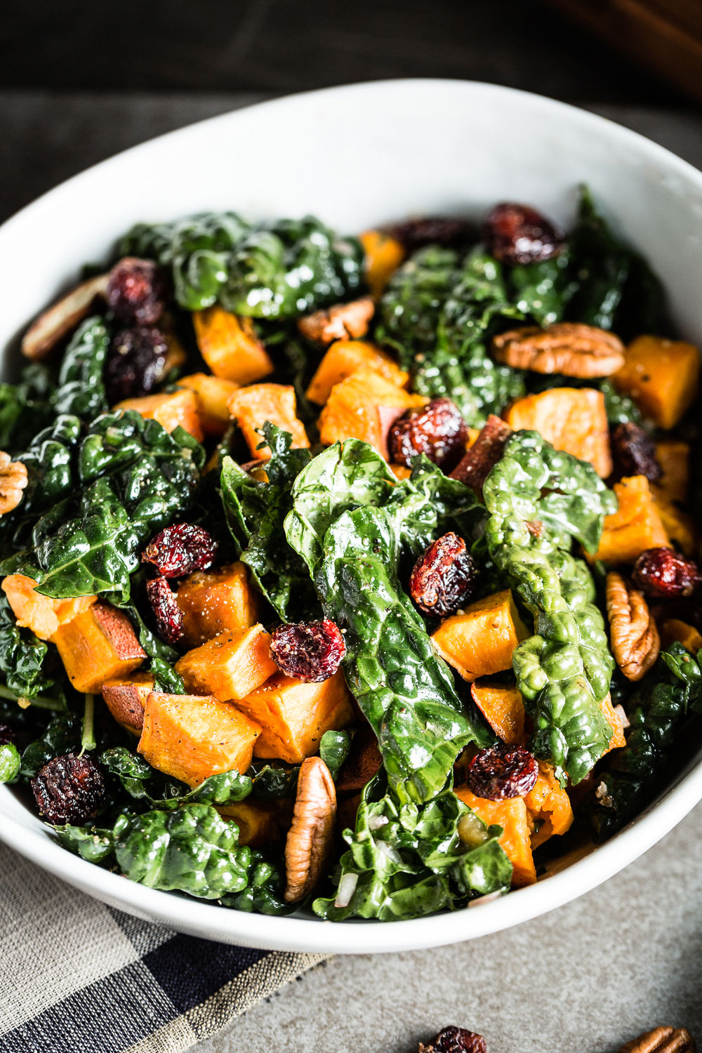 Kale Salad with Roasted Sweet Potatoes close up vertical