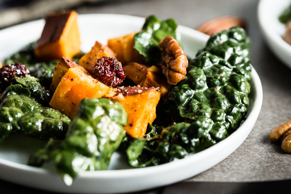 Kale Salad with Roasted Sweet Potatoes close up
