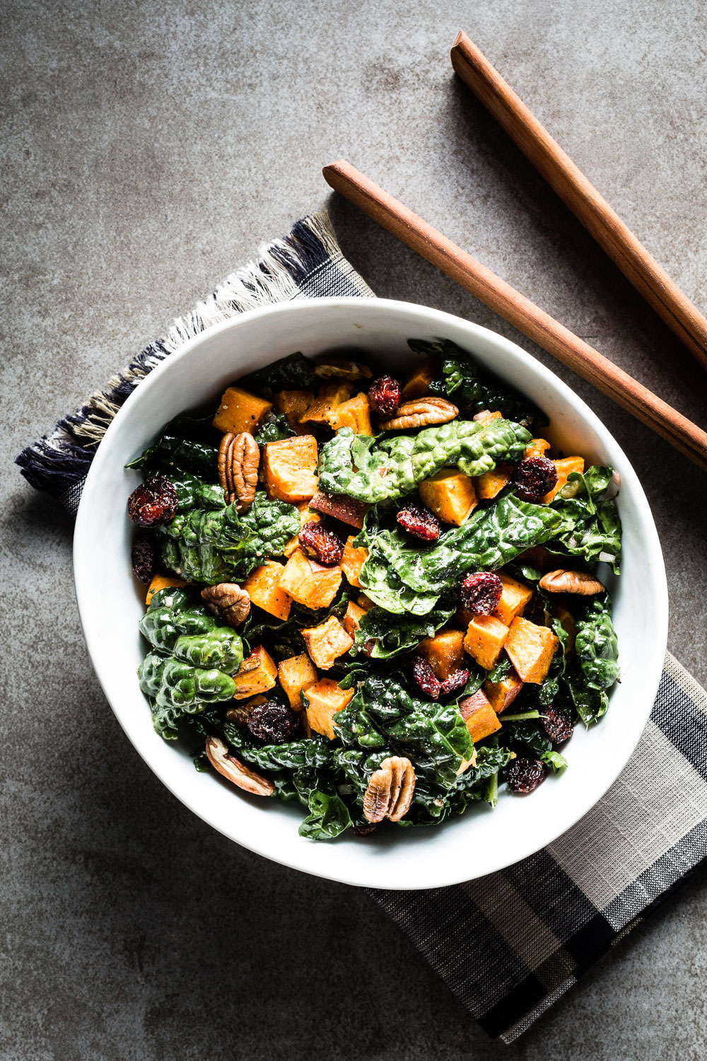 Kale Salad with Roasted Sweet Potatoes overhead vertical