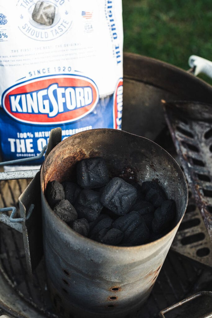 Kingsford Charcoal briquets in chimney starter