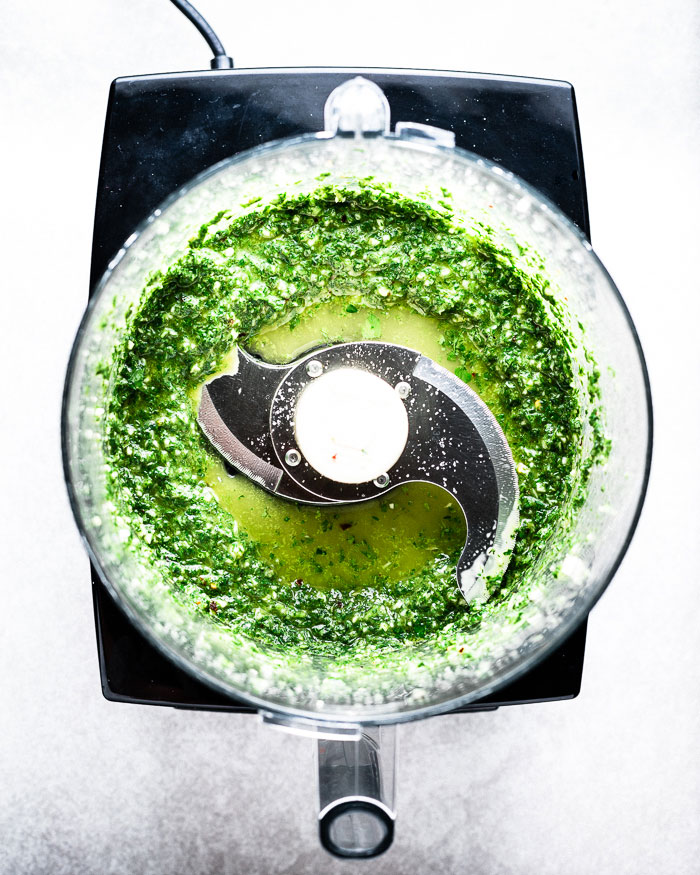 Mint Chimichurri in food processor