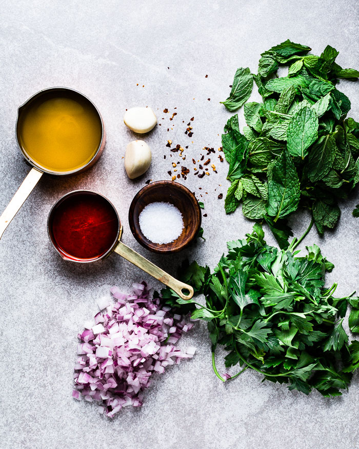Mint Chimichurri ingredients