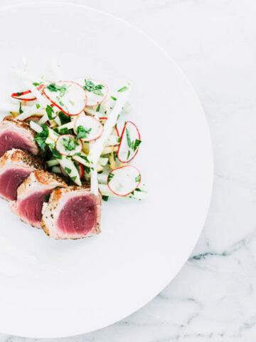 Seared Tuna + Kohlrabi Slaw and Ginger-Lime Aioli