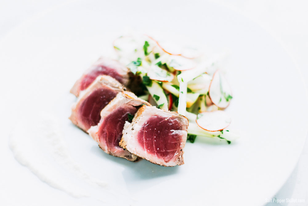 Seared Tuna + Kohlrabi Slaw and Ginger-Lime Aioli