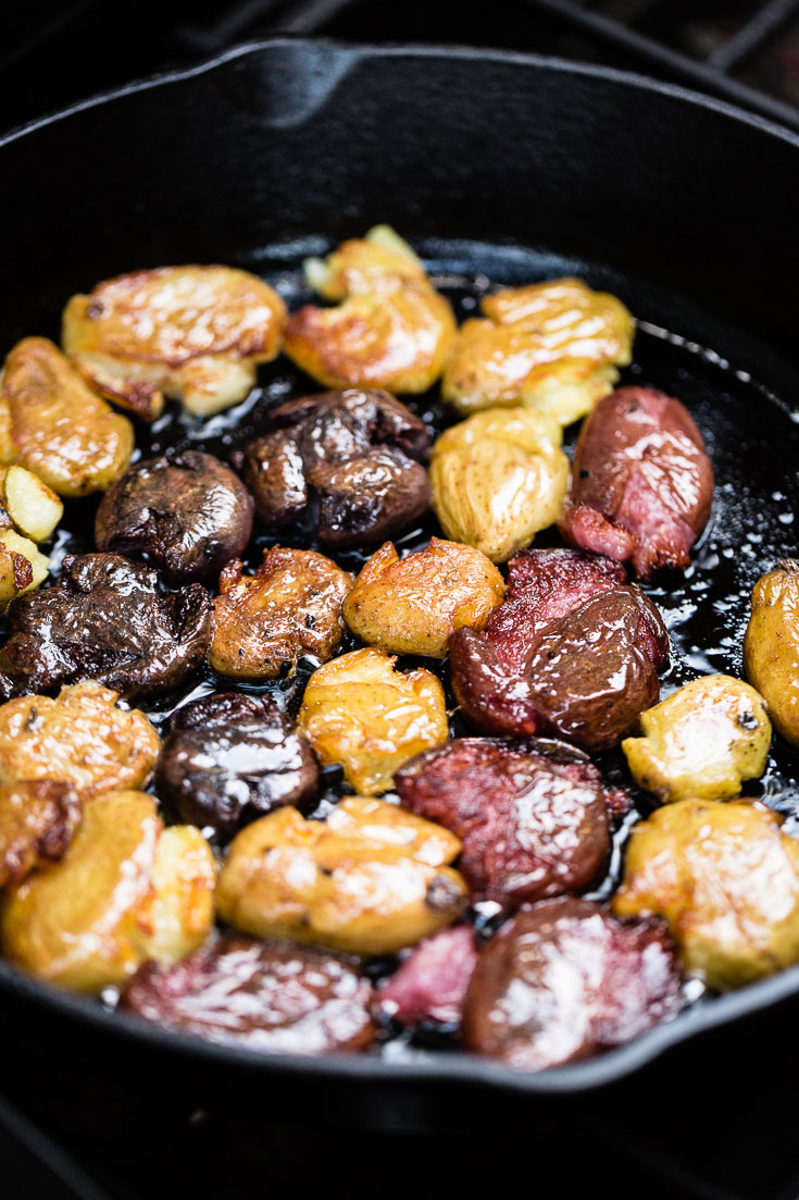 Smashed Fingerling Potatoes in Cast Iron Skillet