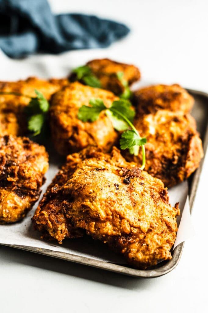 Sous Vide Fried Chicken on sheetpan vertoca; close up