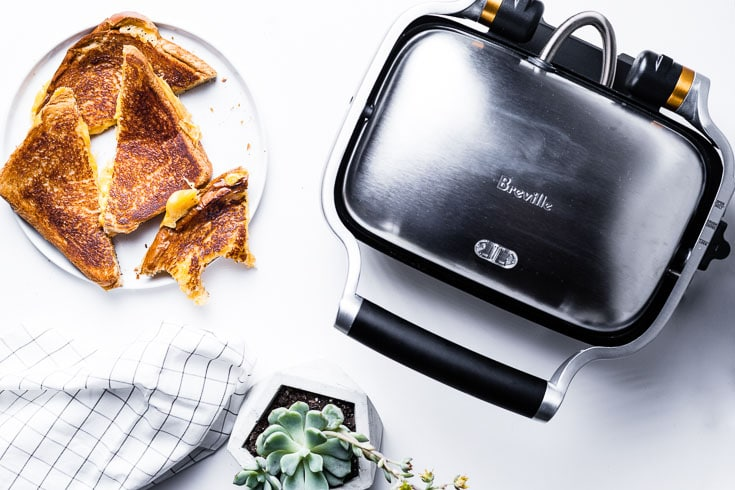The Perfect Grilled Cheese with breville perfect press flatlay