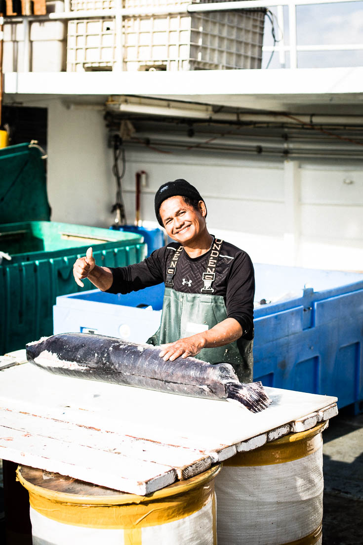 Pacific Horizon fisherman at Tuna Harbor Dockside Market