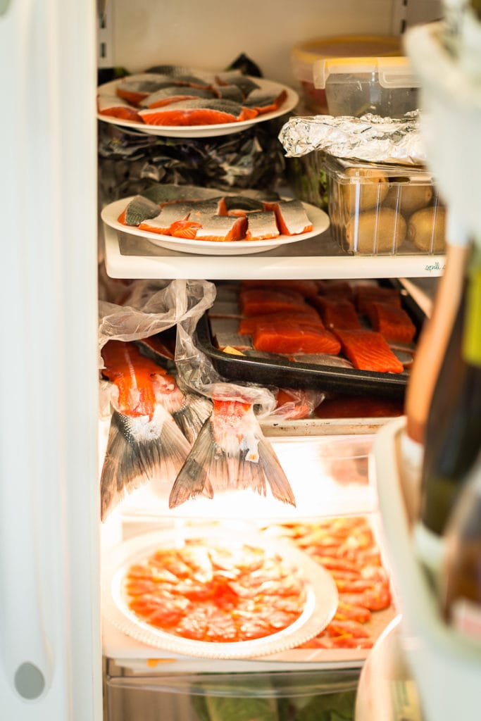 a fridge stocked full of copper river salmon