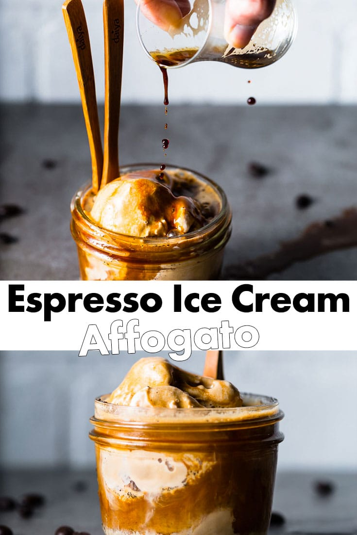 Espresso Ice Cream Affogato. The most refreshing and satisfying Italian coffee treats for a hot summer day. Espresso ice cream topped with espresso. #affogato #italian #coffee #espresso #icecream #saltpepperskillet