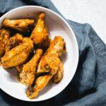 air fryer bbq chicken wings horizontal overhead