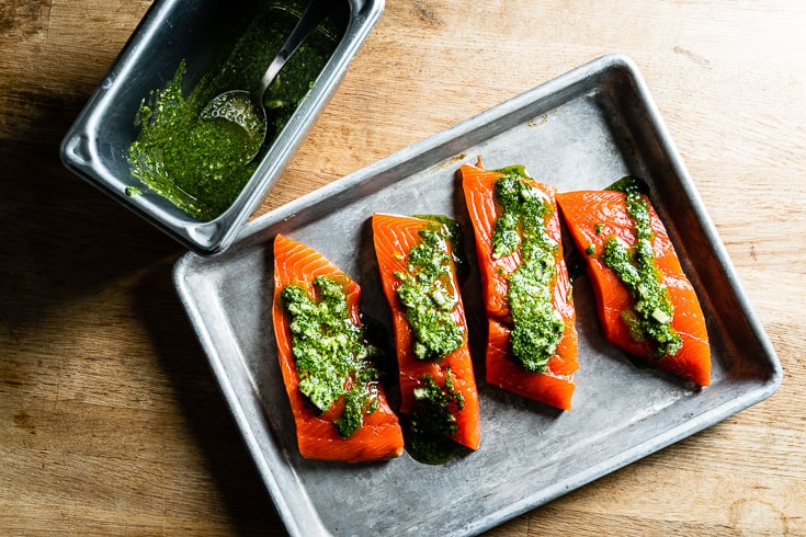 alaskan salmon filets with chimichurri on sheet pan