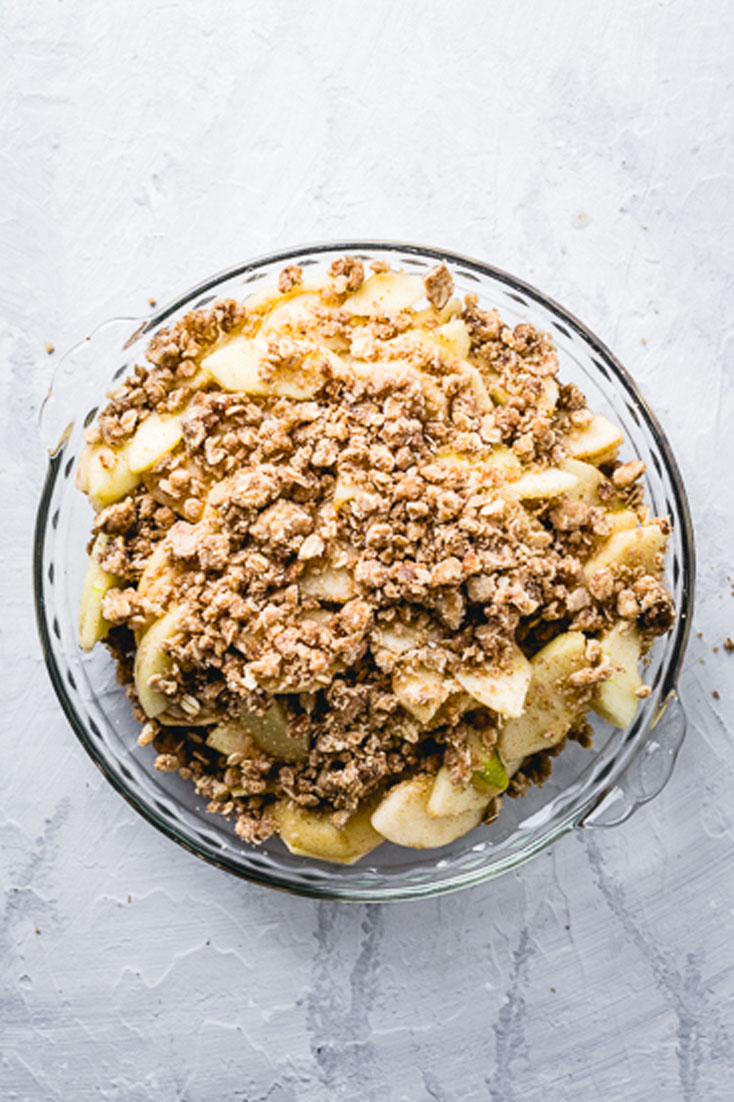 apple crisp assembled in pie plate