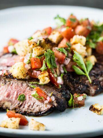 aussie flank steak with breadcrumb salsa closeup horizontal