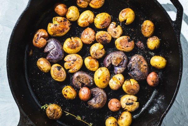 baby potatoes in skillet overhead