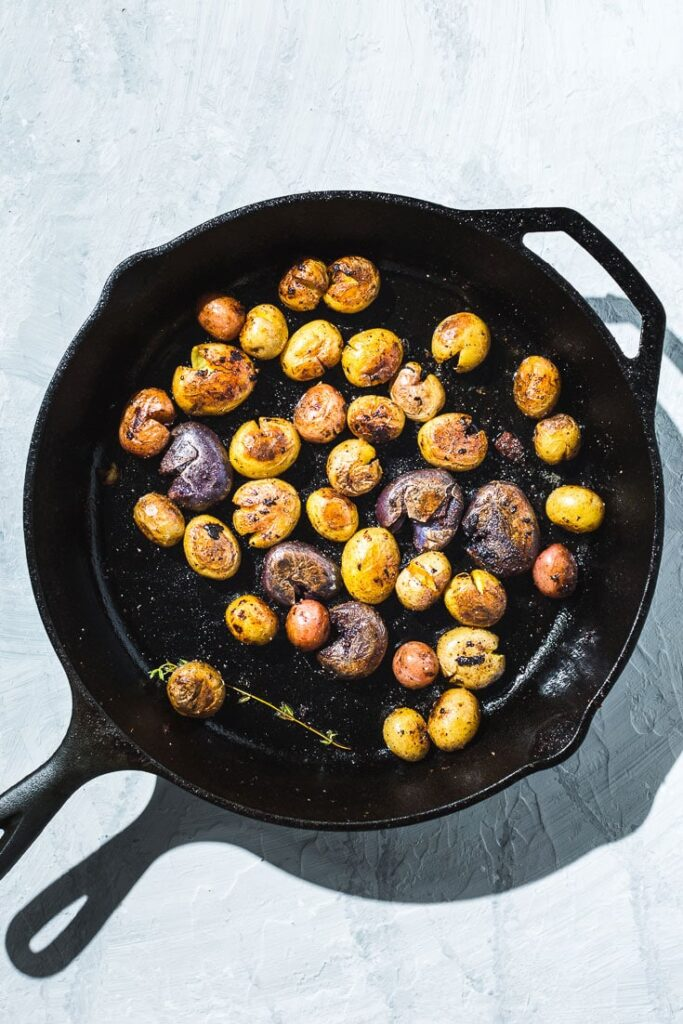 baby potatoes in skillet overhead