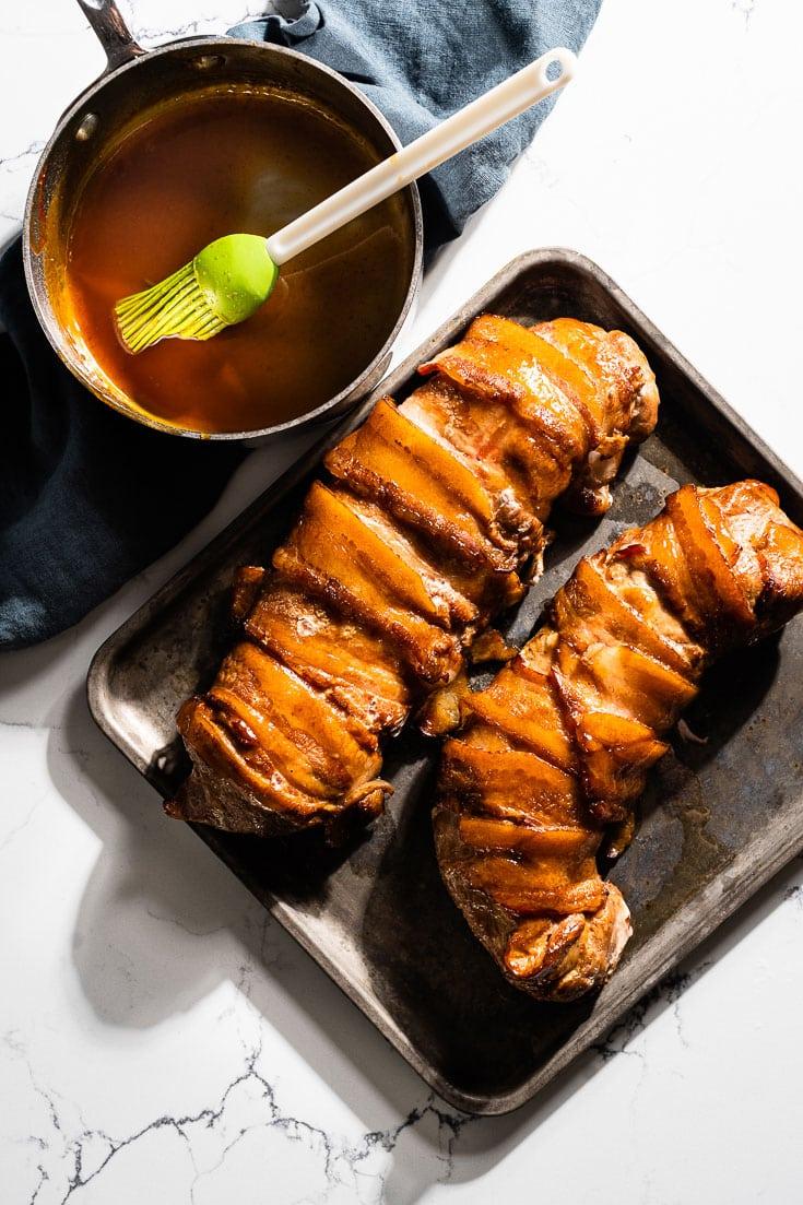 bacon wrapped glazed smoked pork tenderloin overhead
