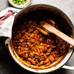 Sweet and Smoky Baked Beans overhead