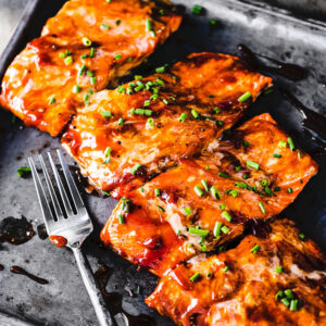 bbq grilled salmon close up