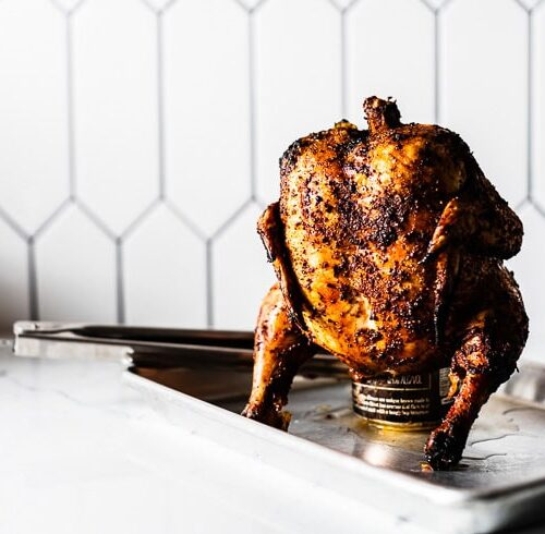 beer can chicken resting on sheet pan horizontal