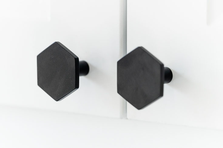 CB2 black hex cabinet knobs