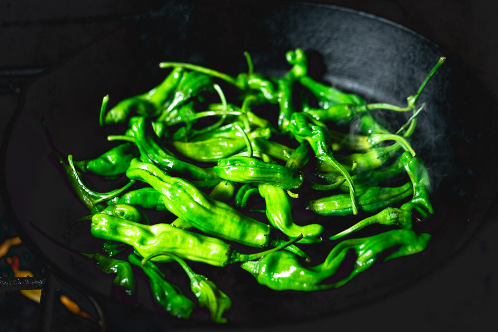 Shishito Peppers in a skillet