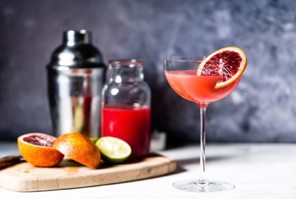 blood orange mezcal gimlet
