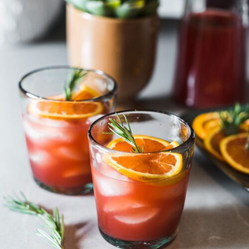Blood Orange-Rosemary Margaritas straight on