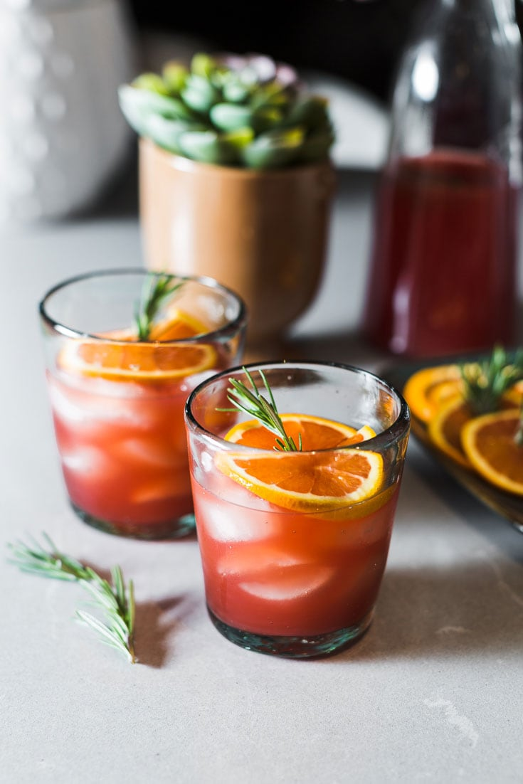 Blood Orange-Rosemary Margaritas straight on