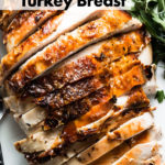 brined and herb roasted turkey breast pin
