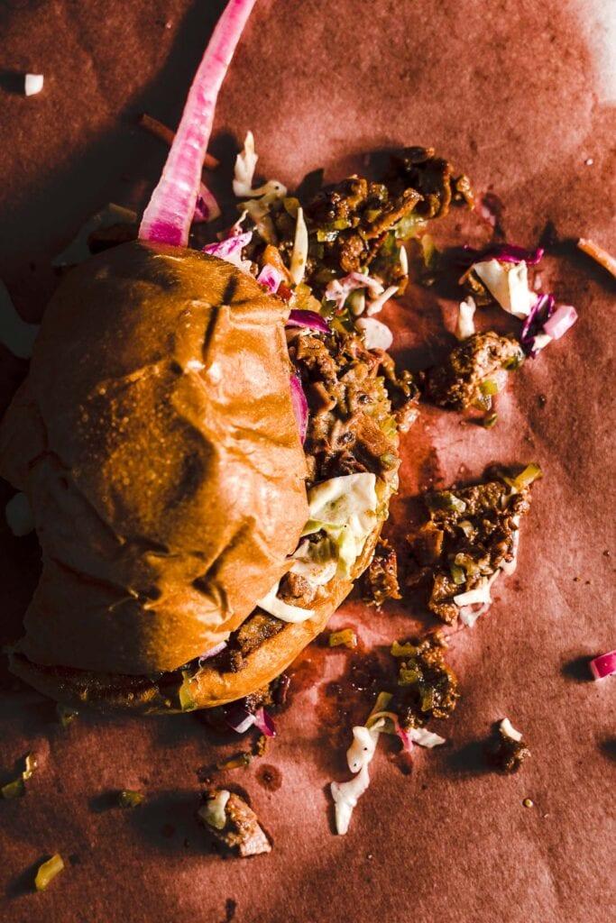 brisket sandwich overhead