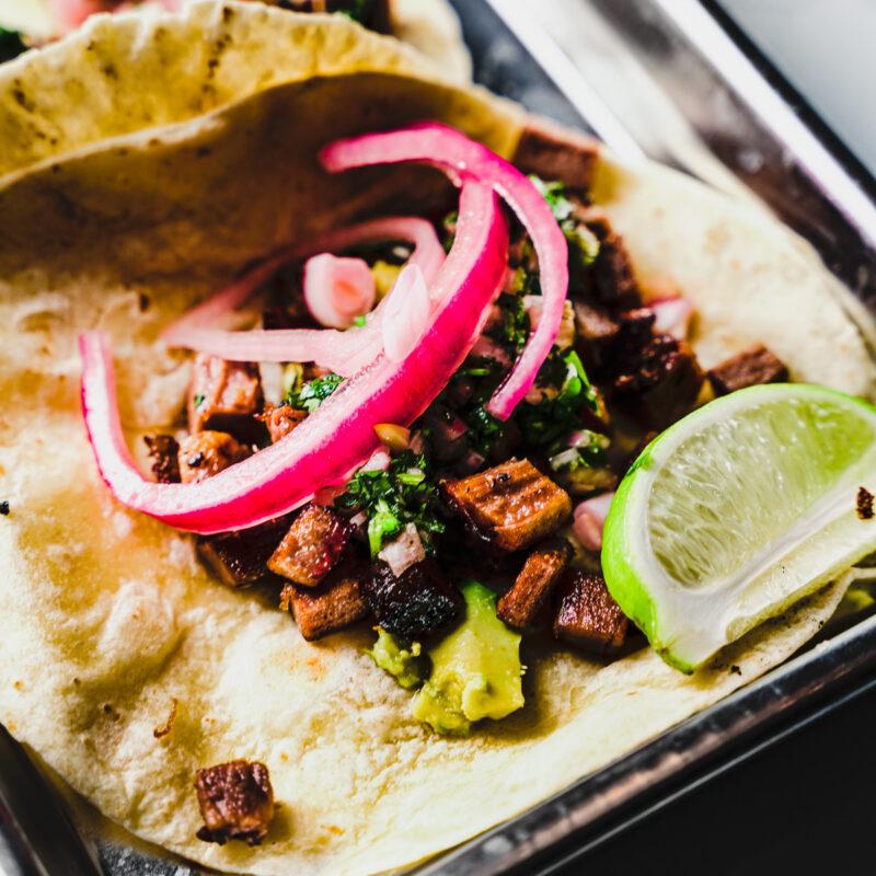 brisket tacos close up