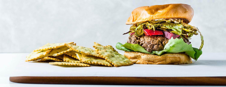 Balsamic Brussels + Beets on a Brioche Bun Burger